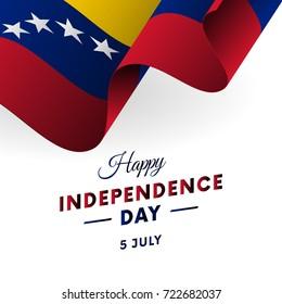 Banner or poster of Venezuela independence day celebration. Waving flag. Vector illustration.