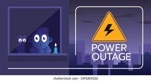 the banner of a Power outage with a warning sign on the background of the city without electricity also there is a boy with a cat by the window with staring eyes.