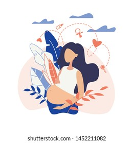 Banner  Pregnant Girl Holding Belly Flat Vector. Pregnant Girl who has Big Belly. She Surrounded Thoughts about Taking Care Baby, about Feeding, Comforting, Rattles and how Show Love Child.