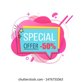 Banner with price reduction vector, 50 percent reduced cost on goods of shop, proposition of store, stars and colorful abstract design flat style. Special offer text on label on watercolor shape