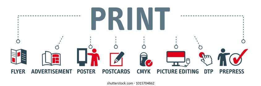 баннерная печать векторная концепция дизайна баннера с печатными иконками на белом фоне