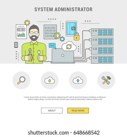 Banner programmer configures the server. The system administrator man repairs and program. Line of flat design symbols and icons for web pages, printing. Vector illustration