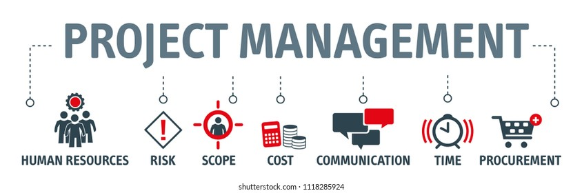Banner project management vector illustration concept with icons