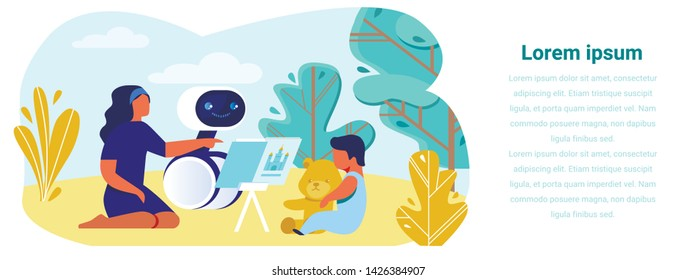 Banner Promoting Robotic Nanny for Kids Education Usage. Flat Cartoon Mother and Baby Holding Teddy Bear Outdoor. AI Babysitter Reading Book to Child Illustration. Robot Helping Young Family