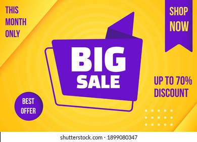 Banner promotion marketing material with month big sale tag. Invitation poster template to shop now with up to 75 percent price reduction discount and use best commercial offer vector illustration