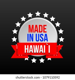 """Banner for promotions or symbols of the brand """"Made in the USA. Hawaii."""""""