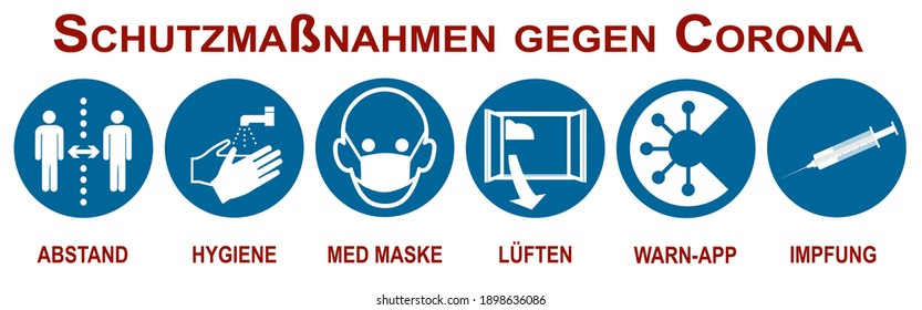 Banner with protective measures against Covid-19. Text in German (protective measures against corona and distance, hygiene, medical mask, ventilation, warning app, vaccination). Vector file