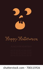 Banner with pumpkin, Terrible character for holiday. Glowing muzzle on a dark background. Flyer or invitation template for Halloween party. Vector illustration.