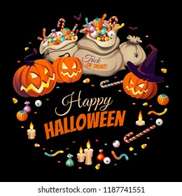 Banner with pumpkins and bags of сolorful Halloween sweets for children: candy, chocolate, jelly isolated on black background.