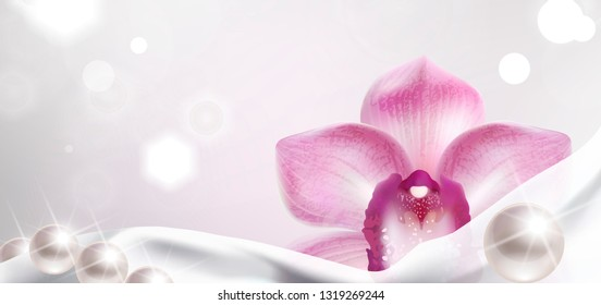 banner with purple orchid and white satin fabric and pearls