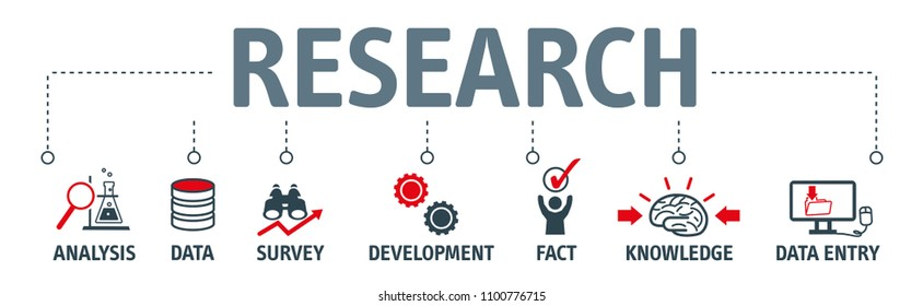 Banner research vector illustration concept with keywords and icons