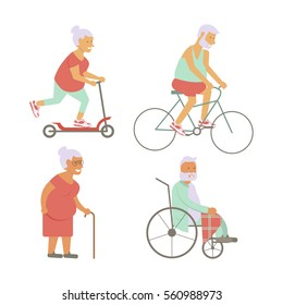 Banner of Retired elderly senior age couple in flat character design. Grandpa and grandma on bicycles. Grandparents with walking stick and invalid chair isolated. Vector illustration eps10.