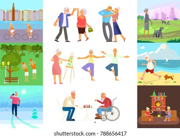 Banner of Retired elderly senior age couple in flat character design. Grandpa and grandma walking in the park. Grandparents with walking stick and invalid chair outdoor isolated. Vector eps 10