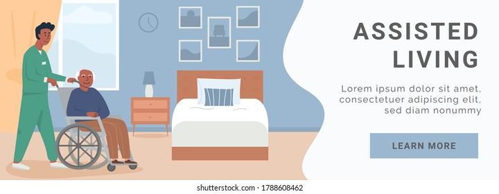Banner for retirement home. Assisted living at nursing home. A male nurse with elderly black man in wheelchair. African american, asian disabled man at her bedroom. Social worker. Vector illustration.