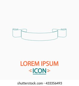 Banner ribbon Flat thin line icon on white background. Vector pictogram
