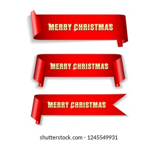 Banner, ribbon Merry Christmas banners set, Paper scrolls, Ribbons, stickers.