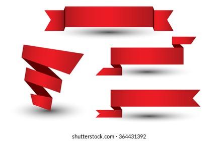Banner ribbon vector set