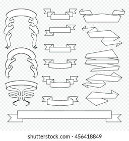 Banner ribbon vector set.