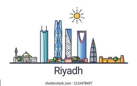 Banner der Stadt Riad im flachen Stil. Riyadh City Line Kunst. Alle linearen Gebäude getrennt und anpassbar.