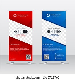 Banner roll-up design, business concept. Graphic template roll-up for exhibitions, banner for seminar, layout for placement of photos. Universal stand for conference, promo banner vector background