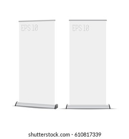 Banner roll-up. Graphic template roll-up for exhibitions, banner for seminar. Universal stand for conference, promo banner vector background.
