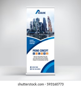 Banner roll-up vector, blue graphic template for the exhibition stand, for the conference, accommodation advertising information and photos. Background vector