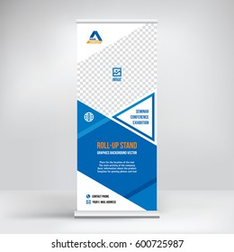 Banner roll-up vector, blue graphic template for the exhibition stand, for the conference, accommodation advertising information and photos. Business concept, vector background
