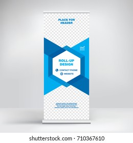 Banner roll-up vector, graphic template for the exhibition stand, for the conference, accommodation advertising information and photos. Business concept, vector background.