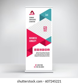 Banner roll-up vector, red graphic template for the exhibition stand, for the conference, accommodation advertising   information and photos. Business concept, vector background