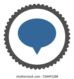 Banner round stamp icon. This flat vector symbol is drawn with cobalt and gray colors on a white background.
