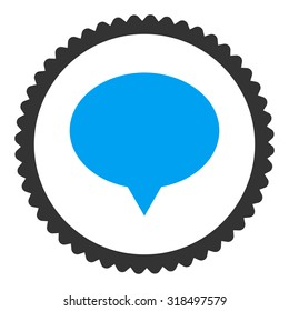 Banner round stamp icon. This flat vector symbol is drawn with blue and gray colors on a white background.