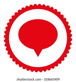 Banner round stamp icon. This flat vector symbol is drawn with red color on a white background.