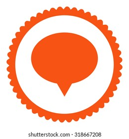 Banner round stamp icon. This flat vector symbol is drawn with orange color on a white background.
