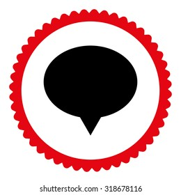 Banner round stamp icon. This flat vector symbol is drawn with intensive red and black colors on a white background.