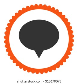 Banner round stamp icon. This flat vector symbol is drawn with orange and gray colors on a white background.