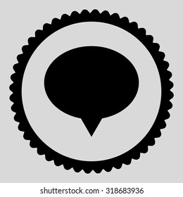Banner round stamp icon. This flat vector symbol is drawn with black color on a light gray background.