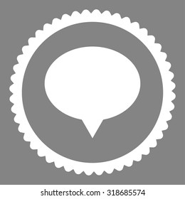 Banner round stamp icon. This flat vector symbol is drawn with white color on a gray background.