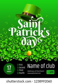 Banner - Saint Patrick's day. Illustration with text, Leprechaun's hat, coin and green Clover on gradient background.