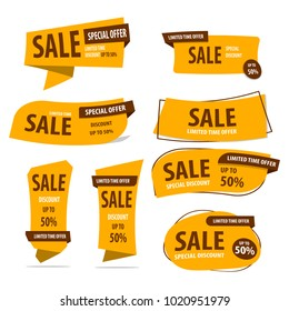 Banner Sale Collection Set , Promotion sale tag banner limited time and special offer , advertising element art , vector illustration , eps10