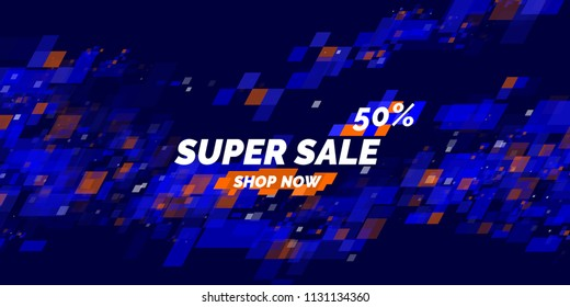 Banner for sale. The original poster discount with the dynamic waves on blue background. Vector illustration