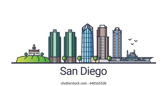Banner of San Diego city in flat line trendy style. San Diego city line art. All buildings separated and customizable.