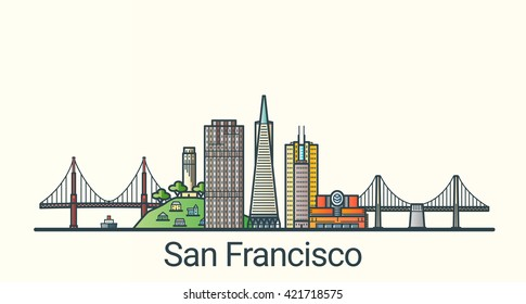 Banner of San Francisco city in flat line trendy style. San Francisco city line art. All buildings separated and customizable.