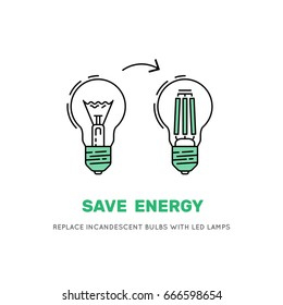 Banner saying that the replacement of incandescent  led lamps will reduce electricity consumption, thus reducing the bills from energy companies. Vector LED energy saving lamp bulb symbols
