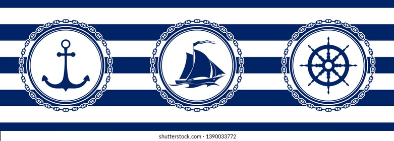 Banner with Sea Emblems on Seamless Striped Marine Background, Anchor and Sailing Vessel and Ship's Wheel , Vector Illustration