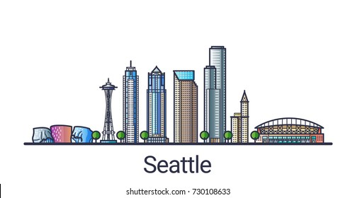 Banner of Seattle city in flat line trendy style. Seattle city line art. All buildings separated and customizable.