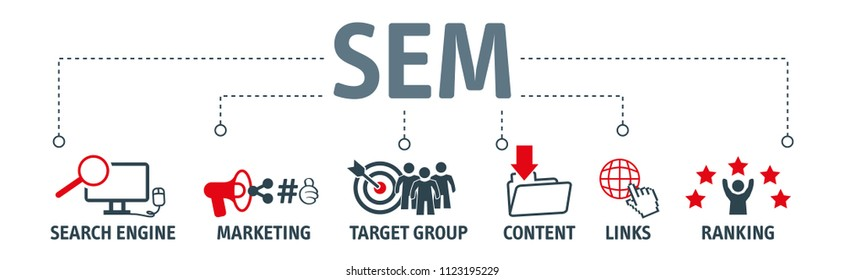 Banner SEM search engine marketing vector illustration concept with keywords and icons