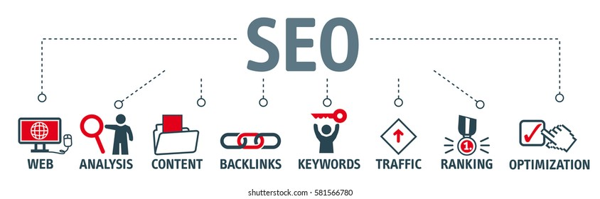 Banner SEO search engine optimization concept. Keywords and pictogram