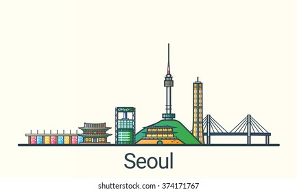 Banner of Seoul in flat line trendy style. All buildings separated and customizable. Line art.