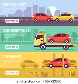 Banner set about car inuranse, assistance and service. Vector illusrtation.