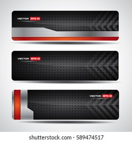 Banner set - black and chrome metal template with red design elements